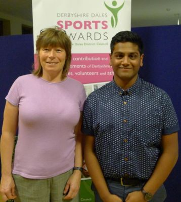 RDSSP Partnership Manager with swimmer Schawn Motaria who won the RDSSP sponsored Young Sports Leader of the Year Award