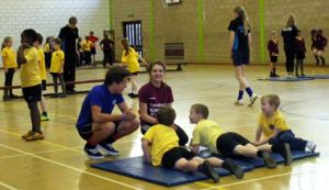 Highfields Sports Leaders leading a Fitness for Life session with year 3 to 6 pupils at St Joseph's.