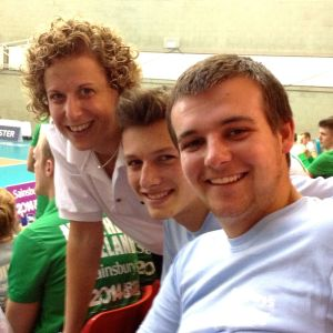 Andy Brough (right) with volleyballer Maria Bertelli & Sam May at School Games