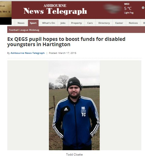 Ashbourne News Telegraph - Todd ex QEGS pupil March 2015 1 of 2